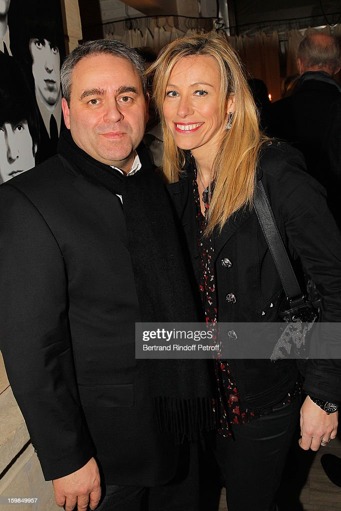 Xavier Bertrand (L) and his wife Emmanuelle Gontier attend 'La Petite Maison De Nicole' Inauguration Cocktail at Hotel Fouquet's Barriere on January 21, 2013 in Paris, France.