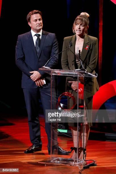 Xavier Bettel and Paris Jackson speak during 'Global Citizen Live' at NYU Skirball Center on September 18 2017 in New York City