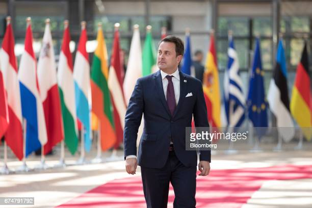 Xavier Bettel Luxembourg's prime minister arrives for a European Union leaders emergency Brexit summit at the Europa building in Brussels Belgium on...
