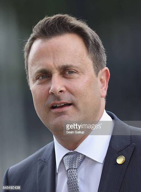 Xavier Bettel Prime Minister of Luxembourg arrives for the Warsaw NATO Summit on July 8 2016 in Warsaw Poland NATO member heads of state foreign...