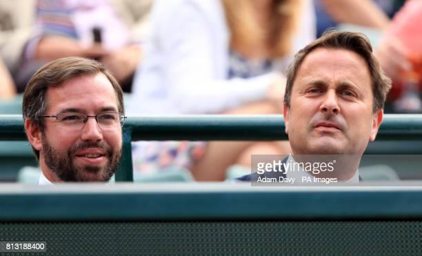 Xavier Bettel Prime Minister of Luxembourg with Guillaume Hereditary Grand Duke of Luxembourg on day Nine of the Wimbledon Championships at The All...