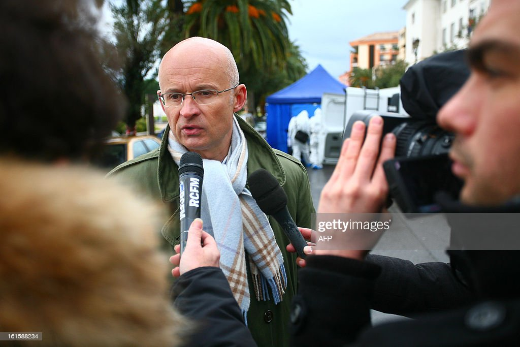 Xavier Bonhomme, the prosecutor of Ajaccio, speaks to the media after Dominique Lorenzi, a pub manager, was shot in Ajaccio, on the French mediterranean island of Corsica on February 12, 2013. AFP PHOTO/PHILIPPE MARINI