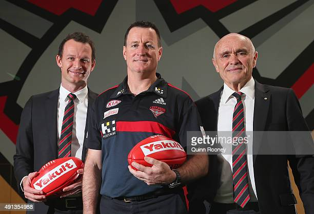 Xavier Campbell John Worsfold the new coach of the Bombers and Paul Little the Chairman pose during an Essendon Bombers AFL press conference at True...