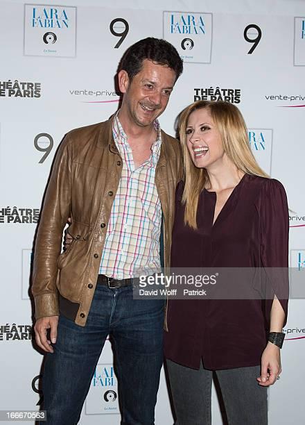 Xavier Court and Lara Fabian attend the Lara Fabian concert at Theatre de Paris on April 15 2013 in Paris France