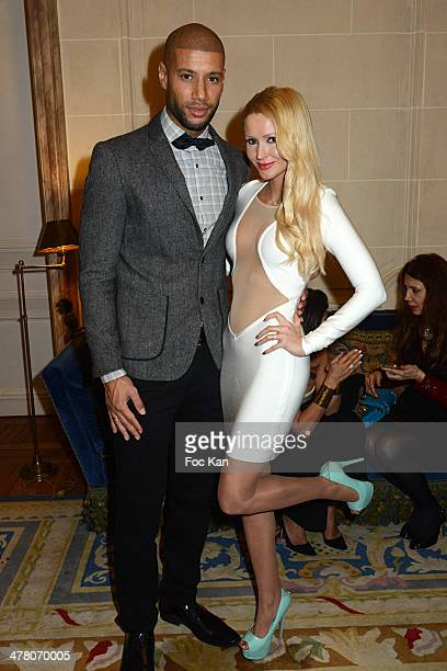 Xavier Delarue and Tatiana Laurens Delarue attend Sauvons Saint Cloud Auction Ceremony Dinner at Hotel Interallie on March 11 2014 in Paris France