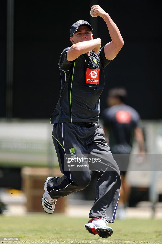 Xavier Doherty bowls during an Australian training session at The Gabba on January 17, 2013 in Brisbane, Australia.