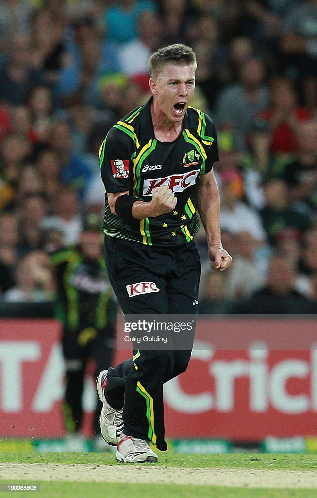 Xavier Doherty celebrates after bowling out Mahela Jayawardena during game one of the Twenty20 international match between Australia and Sri Lanka at ANZ Stadium on January 26, 2013 in Sydney, Australia.