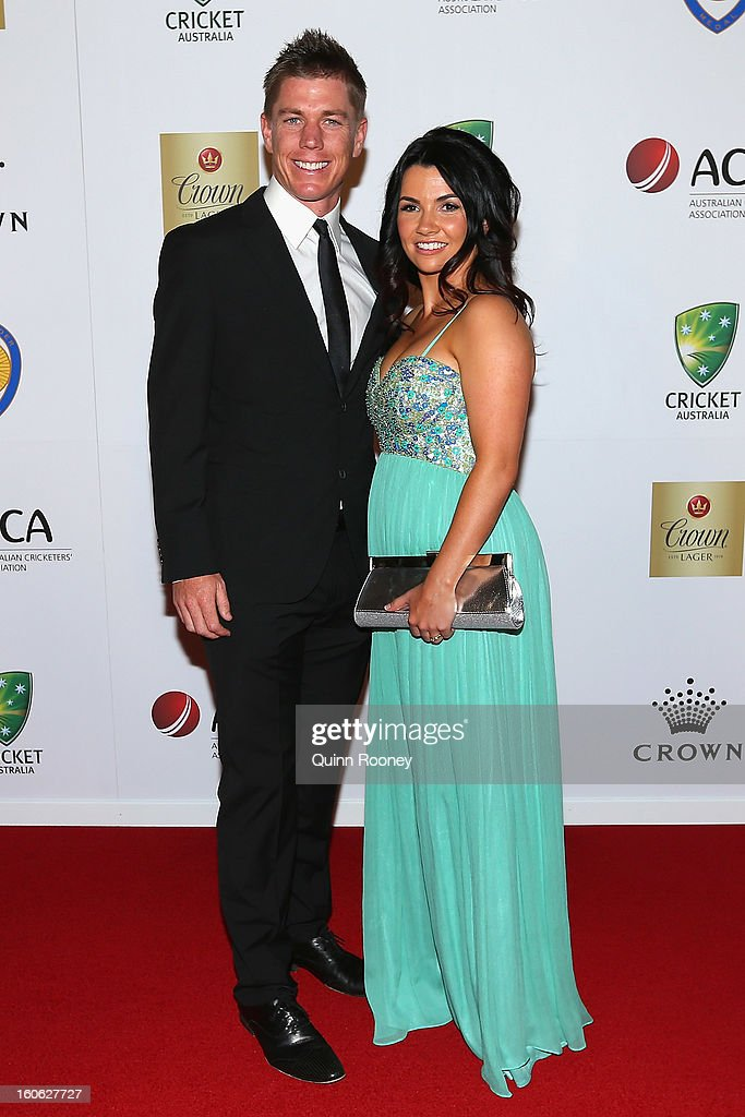 Xavier Doherty of Australia and his wife Emma Doherty arrive at the 2013 Allan Border Medal awards ceremony at Crown Palladium on February 4, 2013 in Melbourne, Australia.