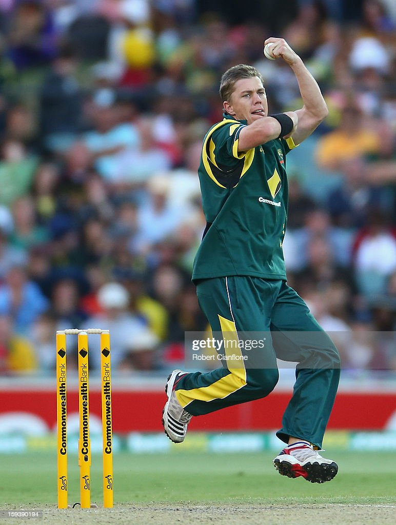 Xavier Doherty of Australia bowls during game two of the Commonwealth Bank One Day International series between Australia and Sri Lanka at Adelaide Oval on January 13, 2013 in Adelaide, Australia.