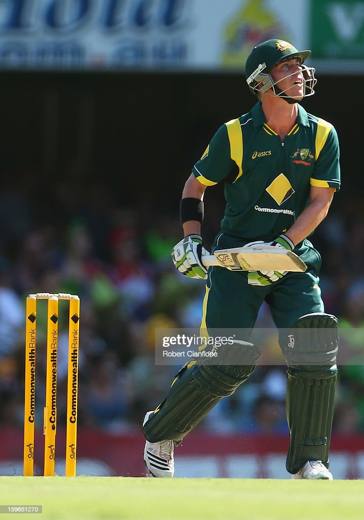 Xavier Doherty of Australia hits out during game three of the Commonwealth Bank One Day International Series between Australia and Sri Lanka at The Gabba on January 18, 2013 in Brisbane, Australia.