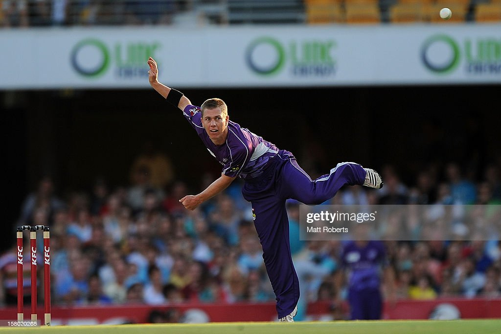 <a gi-track='captionPersonalityLinkClicked' href=/galleries/search?phrase=Xavier+Doherty&family=editorial&specificpeople=2098624 ng-click='$event.stopPropagation()'>Xavier Doherty</a> of the Hurricanes bowls during the Big Bash League match between the Brisbane Heat and the Hobart Hurricanes at The Gabba on December 9, 2012 in Brisbane, Australia.