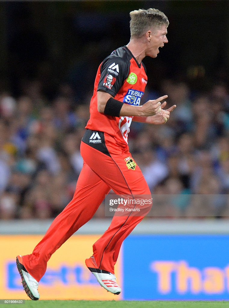 <a gi-track='captionPersonalityLinkClicked' href=/galleries/search?phrase=Xavier+Doherty&family=editorial&specificpeople=2098624 ng-click='$event.stopPropagation()'>Xavier Doherty</a> of the Renegades celebrates taking the wicket of Lendl Simmons of the Heat during the Big Bash League match between the Brisbane Heat and the Melbourne Renegades at The Gabba on December 19, 2015 in Brisbane, Australia.