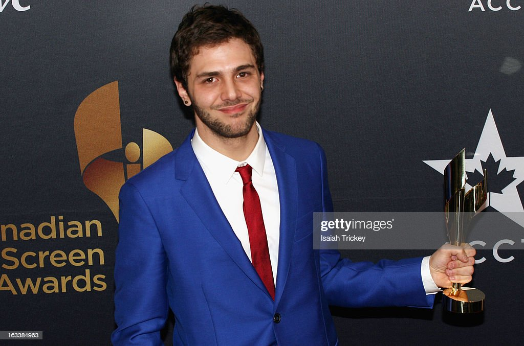 <a gi-track='captionPersonalityLinkClicked' href=/galleries/search?phrase=Xavier+Dolan&family=editorial&specificpeople=5948820 ng-click='$event.stopPropagation()'>Xavier Dolan</a>, best achievement in Custom Design, attends the 2013 Canadian Screen Awards at Sony Centre for the Performing Arts on March 3, 2013 in Toronto, Canada.
