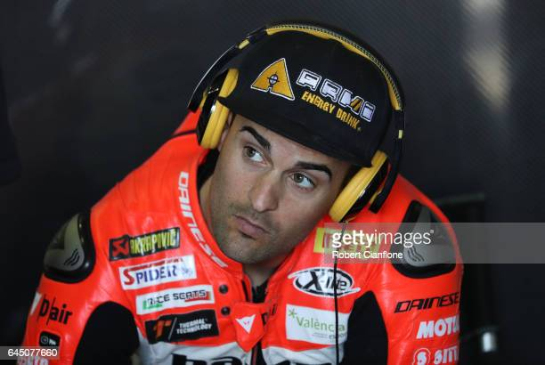 Xavier Fores of Spain and rider of the BARNI Racing Team Ducati looks on during practice for round one of the FIM World Superbike Championship at...