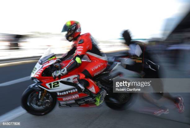 Xavier Fores of Spain and rider of the BARNI Racing Team Ducati leaves pit lane during practice for round one of the FIM World Superbike Championship...