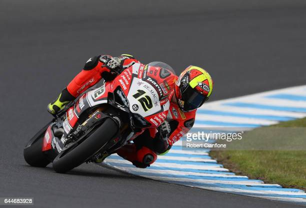 Xavier Fores of Spain rides the BARNI Racing Team Ducati during practice ahead of round one of the FIM World Superbike Championship at Phillip Island...