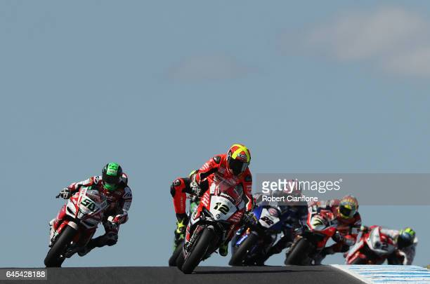 Xavier Fores of Spain rides the BARNI Racing Team Ducati during round one of the FIM World Superbike Championship at Phillip Island Grand Prix...