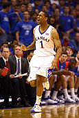 Xavier Henry of the Kansas Jayhawks celebrates after scoring during the game against the Oakland Golden Grizzlies on November 25 2009 at Allen...
