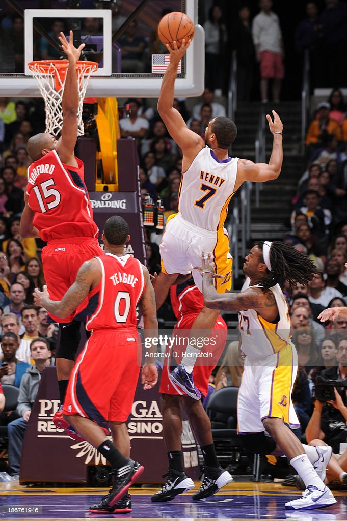 <a gi-track='captionPersonalityLinkClicked' href=/galleries/search?phrase=Xavier+Henry&family=editorial&specificpeople=5792007 ng-click='$event.stopPropagation()'>Xavier Henry</a> #7 of the Los Angeles Lakers attempts a shot against the Atlanta Hawks on November 3, 2013 at STAPLES Center in Los Angeles, California.