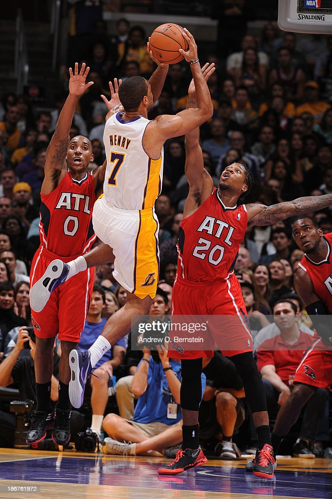Xavier Henry #7 of the Los Angeles Lakers attempts a shot against the Atlanta Hawks on November 3, 2013 at STAPLES Center in Los Angeles, California.