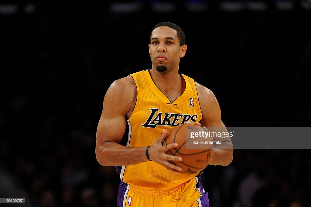 Xavier Henry of the Los Angeles Lakers drives the ball upcourt against the Minnesota Timberwolves at Staples Center on December 20 2013 in Los...