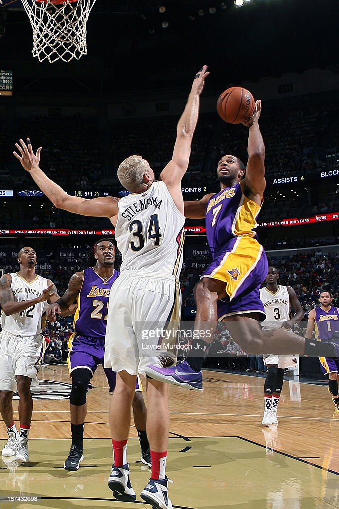 Xavier Henry #7 of the Los Angeles Lakers drives to the basket against the New Orleans Pelicans on November 8, 2013 at the New Orleans Arena in New Orleans, Louisiana.