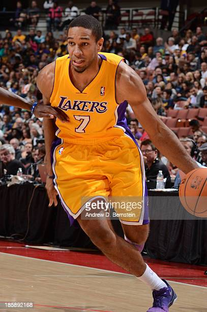 Xavier Henry of the Los Angeles Lakers drives to the basket during a preseason game against the Utah Jazz at the Honda Center in Anaheim California...