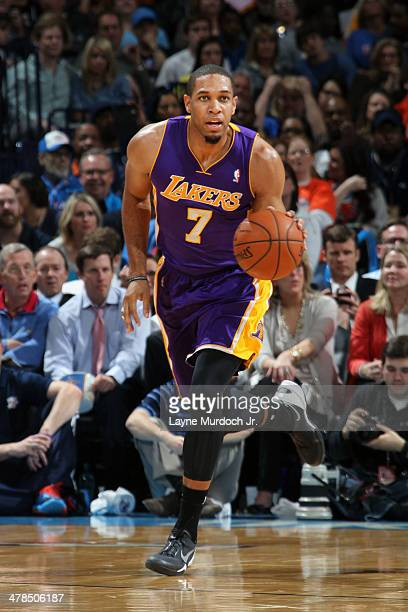 Xavier Henry of the Los Angeles Lakers handles the ball against the Oklahoma City Thunder on March 13 2014 at the Chesapeake Energy Arena in Oklahoma...