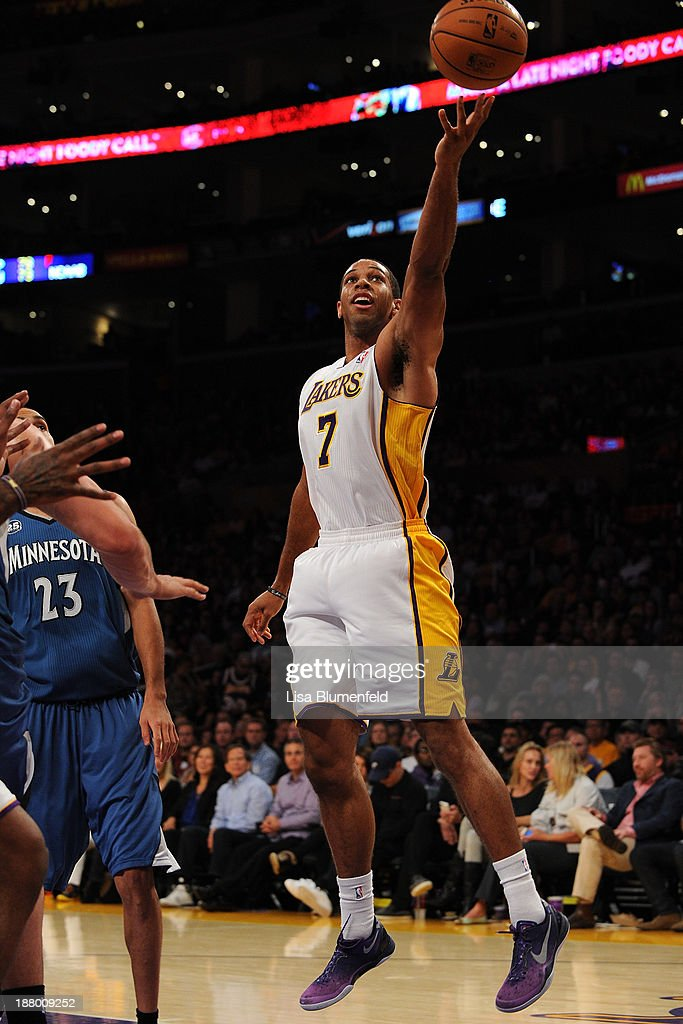 Xavier Henry #7 of the Los Angeles Lakers lays a shot up against the Minnesota Timberwolves at Staples Center on November 10, 2013 in Los Angeles, California.