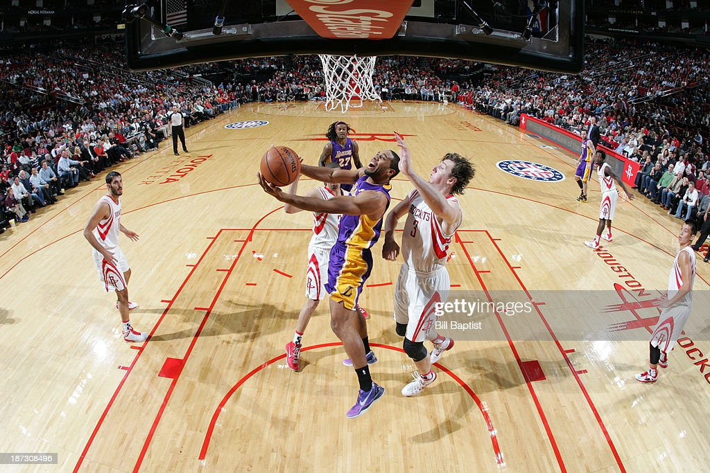 Xavier Henry #7 of the Los Angeles Lakers puts up the shot against the Houston Rockets on November 7, 2013 at the Toyota Center in Houston, Texas.