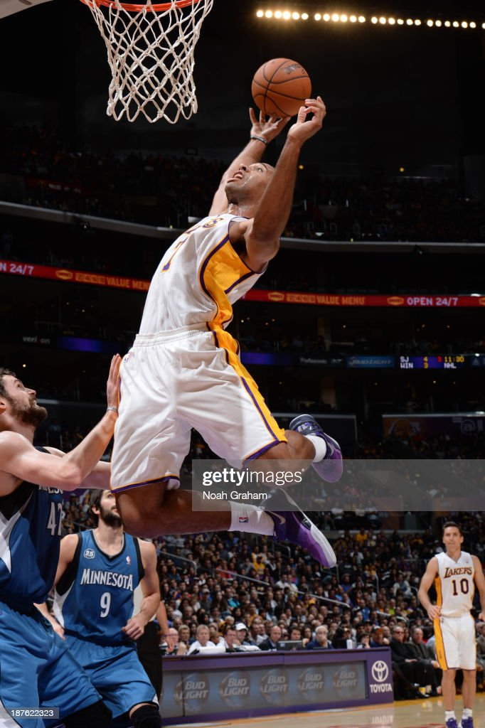 Xavier Henry #7 of the Los Angeles Lakers reaches for a rebound against the Minnesota Timberwolves at Staples Center on November 10, 2013 in Los Angeles, California.