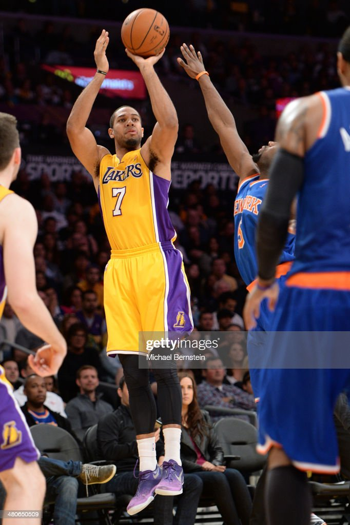 Xavier Henry of the Los Angeles Lakers shoots during a game against the New York Knicks at STAPLES Center on March 25 2014 in Los Angeles California...