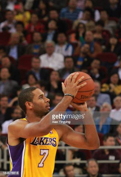 Xavier Henry of the Los Angeles Lakers shoots during the NBA Global Games 2013 Beijing game against the Golden State Warriors on October 15 2013 at...
