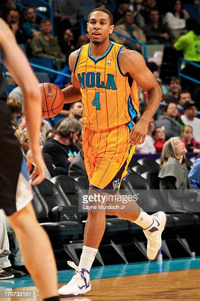 Xavier Henry of the New Orleans Hornets advances the ball against the Minnesota Timberwolves on December 14 2012 at the New Orleans Arena in New...