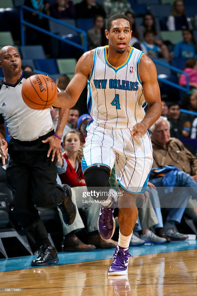 <a gi-track='captionPersonalityLinkClicked' href=/galleries/search?phrase=Xavier+Henry&family=editorial&specificpeople=5792007 ng-click='$event.stopPropagation()'>Xavier Henry</a> #4 of the New Orleans Hornets brings the ball up court against the New York Knicks on November 20, 2012 at the New Orleans Arena in New Orleans, Louisiana.