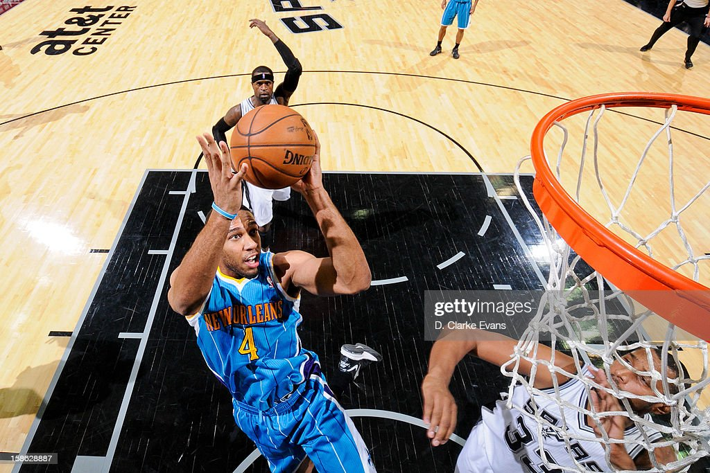 <a gi-track='captionPersonalityLinkClicked' href=/galleries/search?phrase=Xavier+Henry&family=editorial&specificpeople=5792007 ng-click='$event.stopPropagation()'>Xavier Henry</a> #4 of the New Orleans Hornets drives to the basket against the San Antonio Spurs on December 21, 2012 at the AT&T Center in San Antonio, Texas.