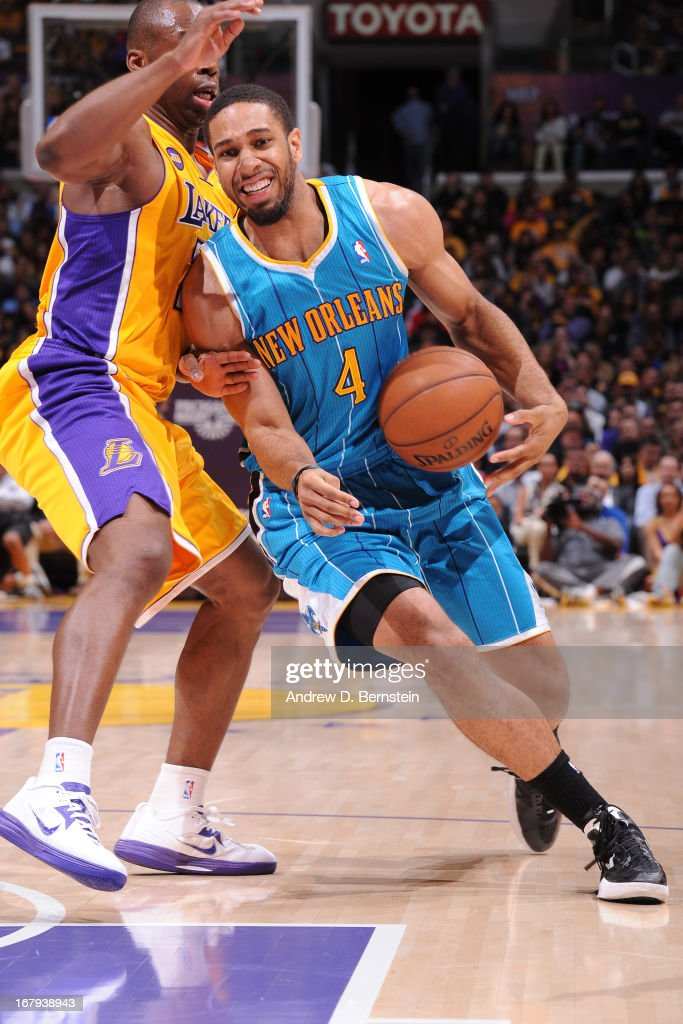 Xavier Henry #4 of the New Orleans Hornets drives to the basket against the Los Angeles Lakers at Staples Center on April 9, 2013 in Los Angeles, California.