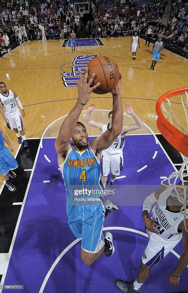Xavier Henry #4 of the New Orleans Hornets dunks against the Sacramento Kings on April 10, 2013 at Sleep Train Arena in Sacramento, California.