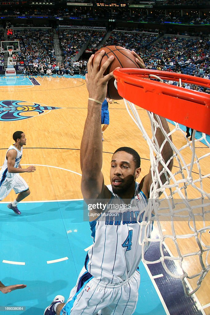 <a gi-track='captionPersonalityLinkClicked' href=/galleries/search?phrase=Xavier+Henry&family=editorial&specificpeople=5792007 ng-click='$event.stopPropagation()'>Xavier Henry</a> #4 of the New Orleans Hornets grabs the rebound Dallas Mavericks on April 14, 2013 at the New Orleans Arena in New Orleans, Louisiana.