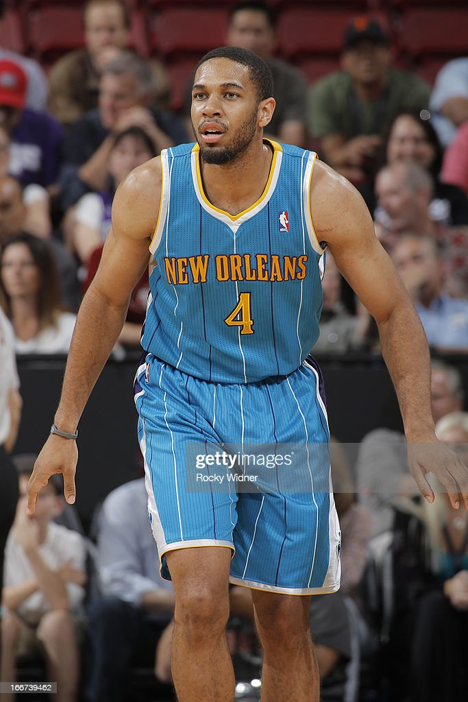 <a gi-track='captionPersonalityLinkClicked' href=/galleries/search?phrase=Xavier+Henry&family=editorial&specificpeople=5792007 ng-click='$event.stopPropagation()'>Xavier Henry</a> #4 of the New Orleans Hornets in a game against the Sacramento Kings on April 10, 2013 at Sleep Train Arena in Sacramento, California.