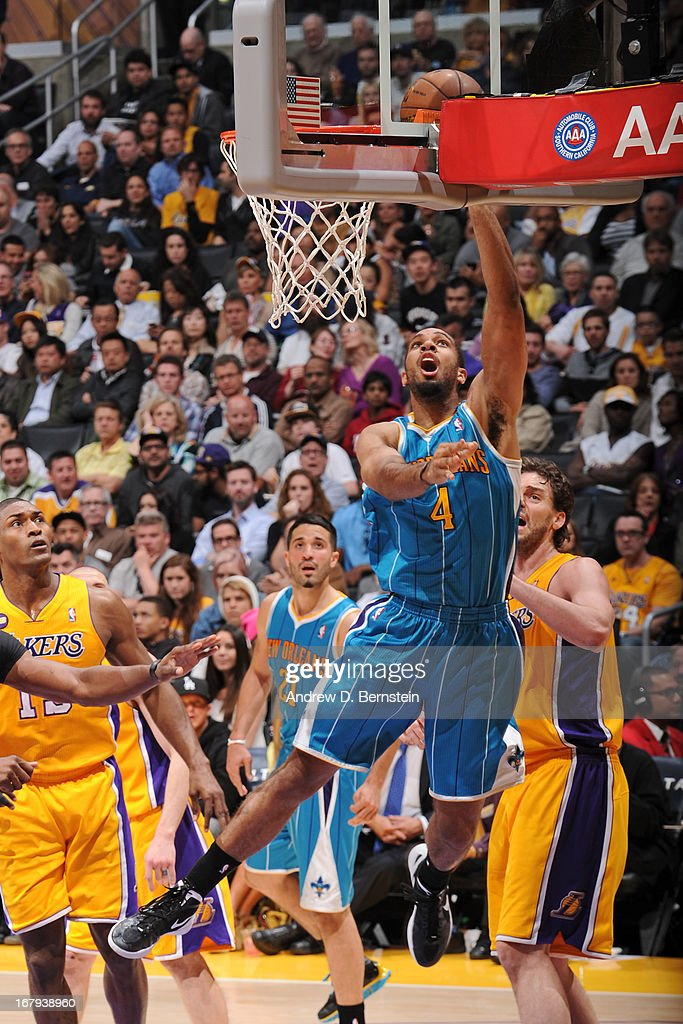 <a gi-track='captionPersonalityLinkClicked' href=/galleries/search?phrase=Xavier+Henry&family=editorial&specificpeople=5792007 ng-click='$event.stopPropagation()'>Xavier Henry</a> #4 of the New Orleans Hornets puts up a shot against the Los Angeles Lakers at Staples Center on April 9, 2013 in Los Angeles, California.