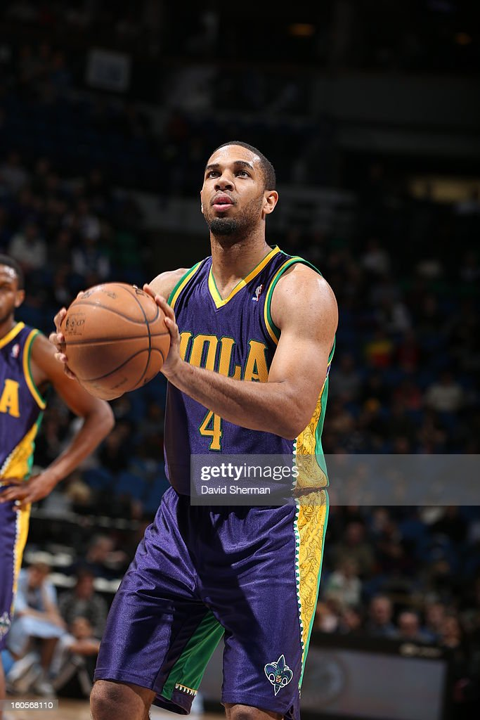 <a gi-track='captionPersonalityLinkClicked' href=/galleries/search?phrase=Xavier+Henry&family=editorial&specificpeople=5792007 ng-click='$event.stopPropagation()'>Xavier Henry</a> #4 of the New Orleans Hornets shoots a free throw against the Minnesota Timberwolves on February 2, 2013 at Target Center in Minneapolis, Minnesota.