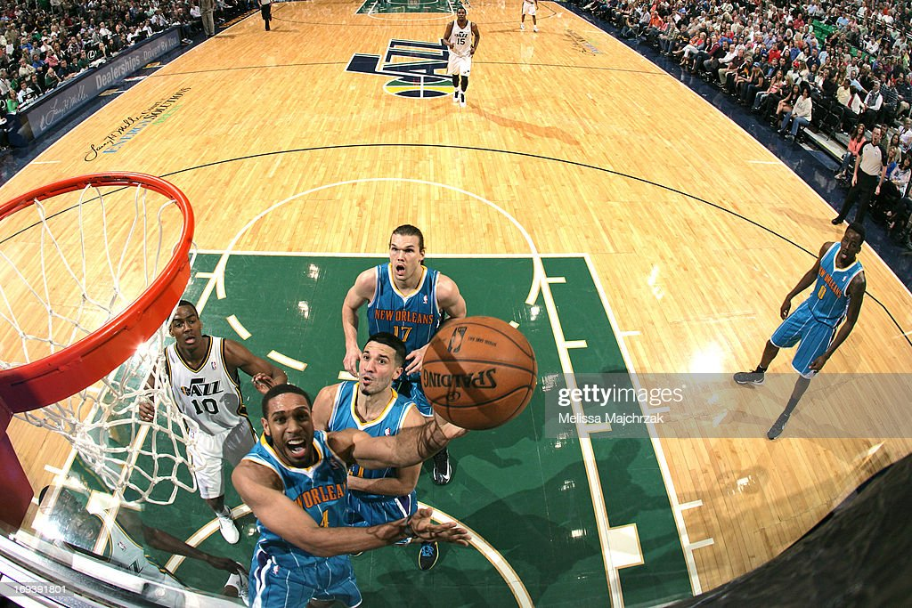 <a gi-track='captionPersonalityLinkClicked' href=/galleries/search?phrase=Xavier+Henry&family=editorial&specificpeople=5792007 ng-click='$event.stopPropagation()'>Xavier Henry</a> #4 of the New Orleans Hornets shoots a layup against the Utah Jazz at Energy Solutions Arena on April 5, 2013 in Salt Lake City, Utah.