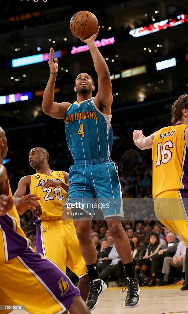 Xavier Henry #4 of the New Orleans Hornets shoots against the Los Angeles Lakers at Staples Center on April 9, 2013 in Los Angeles, California.