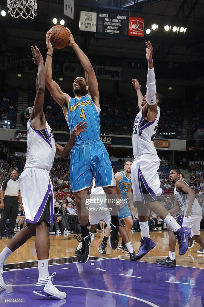 Xavier Henry #4 of the New Orleans Hornets shoots the ball against the Sacramento Kings on April 10, 2013 at Sleep Train Arena in Sacramento, California.