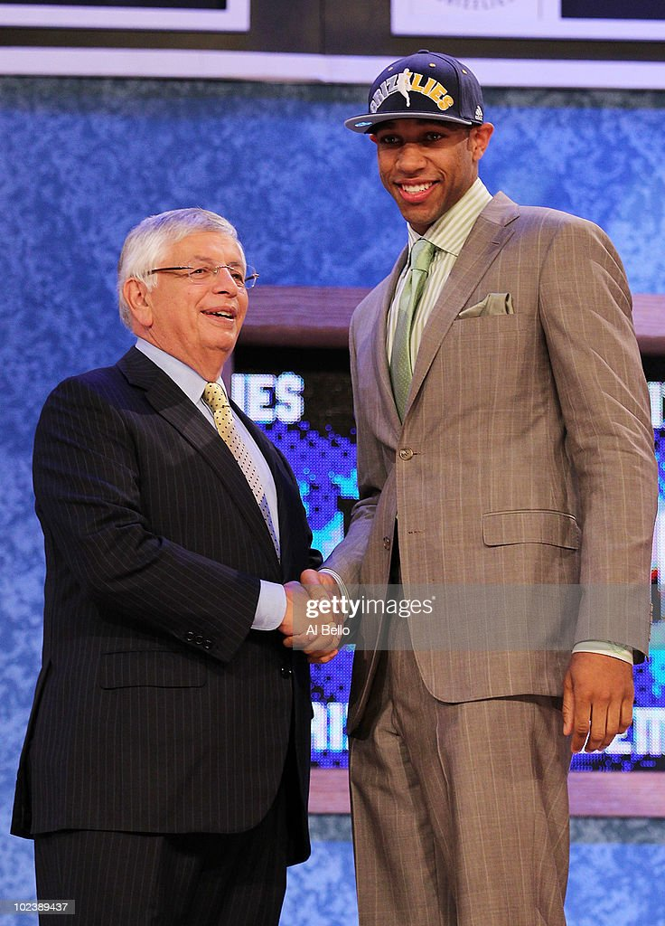 Xavier Henry stands with NBA Commisioner David Stern after being drafted twelfth by the Memphis Grizzlies at Madison Square Garden on June 24 2010 in...