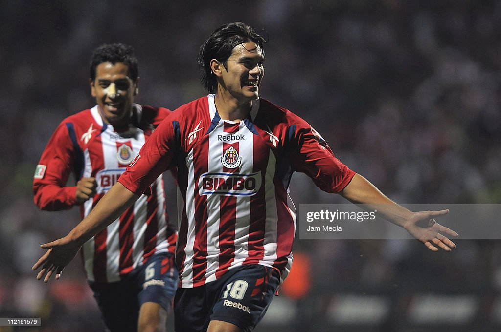 Xavier Ivan Baez of Chivas celebrates a scored goal during a match against Toluca as part of the Clausura Tournament in the Mexican Football League...