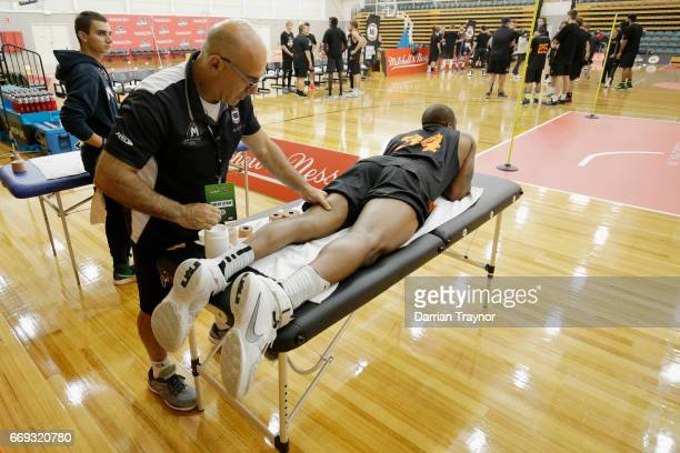 Xavier JohnsonBlount gets a rub down during the NBL Combine 2017/18 at Melbourne Sports and Aquatic Centre on April 17 2017 in Melbourne Australia