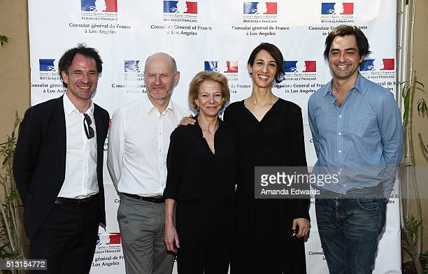 Xavier Lardoux JeanPaul Salome Frederique Bredin Deniz Gamze Erguven and Charles Gillibert attend the Champagne brunch reception honoring the French...
