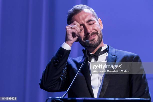 Xavier Le Grand receives the Silver Lion Award for Best director for Jusqu'a la Garde during the Award Ceremony of the 74th Venice Film Festival at...